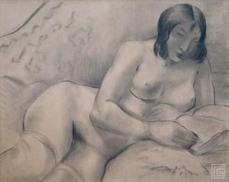Poluležeći ženski akt na divanu, 1934