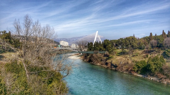 River Morača with Millenium Bridge Podgorica, MNE